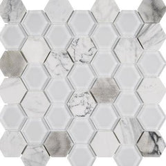 "Interceramic Chelsea Glass Hexagon White 11""x11"""