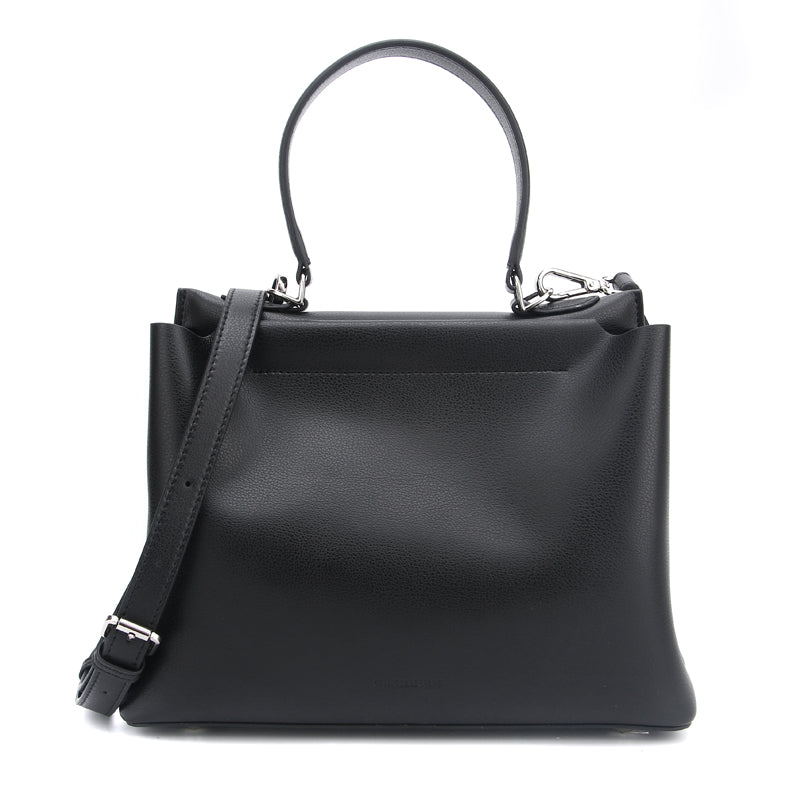 Black Elizabeth Satchel Style Bag by Citi Collective Angled View with Crossbody Strap
