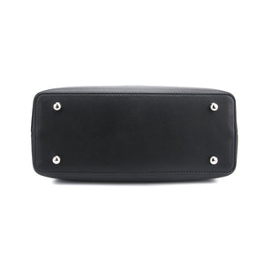 Black Elizabeth Satchel Style Bag by Citi Collective Bottom View with Small Round Metal Feet