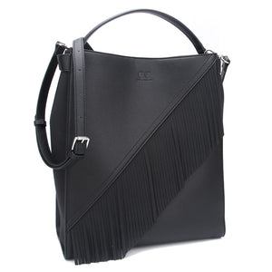 Black Ella Bag with Fringe by Citi Collective Angled View with Crossbody Strap