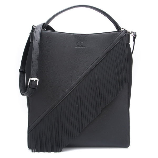 Black Ella Bag with Fringe by Citi Collective Front View with Crossbody Strap