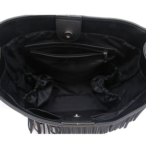 Black Ella Bag with Fringe by Citi Collective Inside View Showing Multiple Organizational Compartments and a Zip Pocket