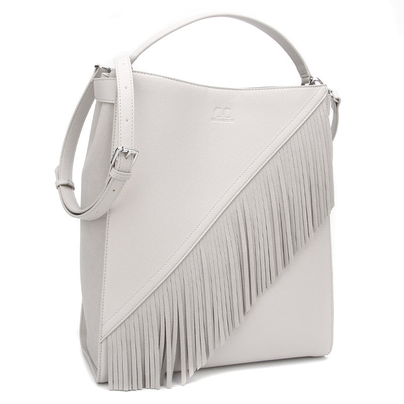 Stone Grey Ella Bag with Fringe by Citi Collective Angled View with Crossbody Strap