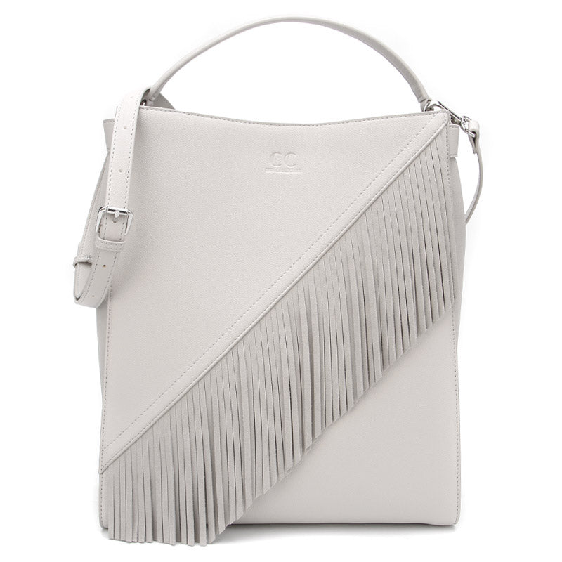 Stone Grey Ella Bag with Fringe by Citi Collective Front View with Crossbody Strap