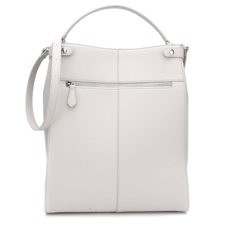 Stone Grey Ella Bag by Citi Collective Back View with Crossbody Strap and External Zip Pocket