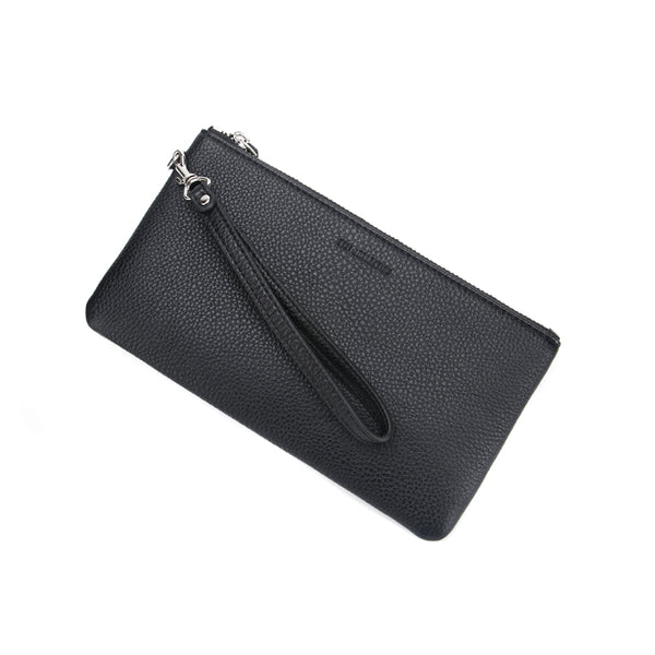 Black Jennie Clutch Bag by Citi Collective Angled View with Wrist Strap