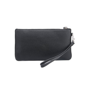 Black Jennie Clutch Bag by Citi Collective Front View with Wrist Strap