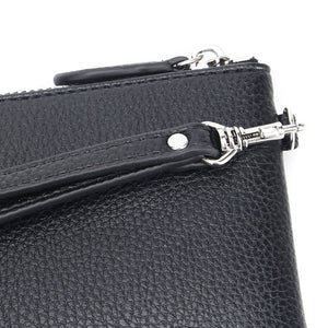 Black Jennie Clutch Bag by Citi Collective Detail View of Silver-Toned Wrist Strap Clasp
