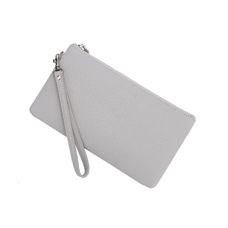 Ice Grey Jennie Clutch Bag by Citi Collective Angled View with Wrist Strap
