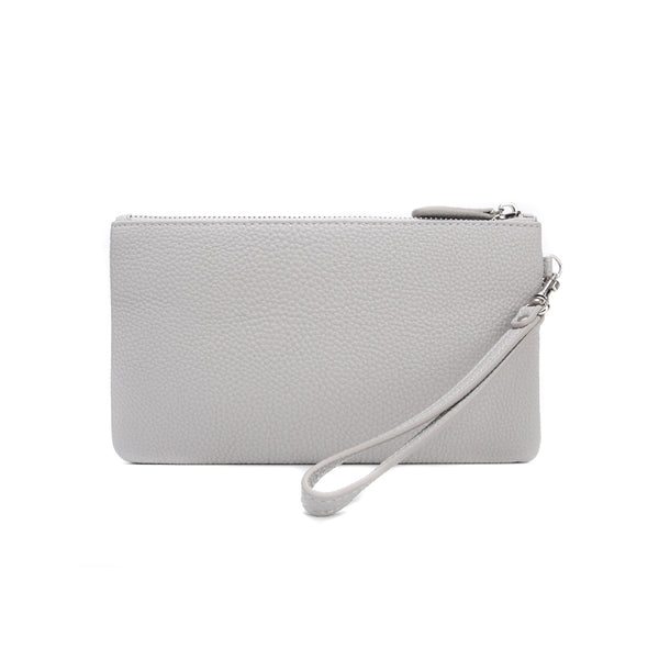 Ice Grey Jennie Clutch Bag by Citi Collective Front View with Wrist Strap