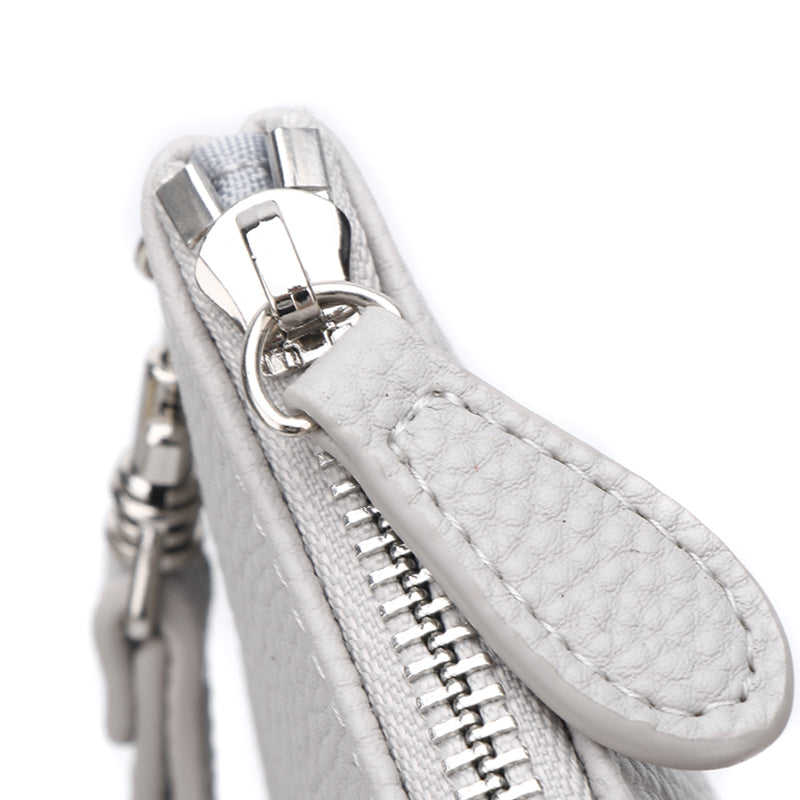 Ice Grey Jennie Clutch Bag by Citi Collective Detail View Showing True Grey Zipper Pull