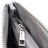 Ice Grey Jennie Clutch Bag by Citi Collective Detail View of Silver-Toned Inside Pocket Zipper Pull