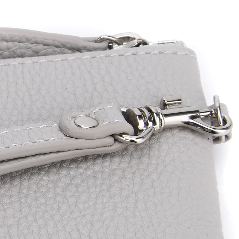 Ice Grey Jennie Clutch Bag by Citi Collective Detail View of Silver-Toned Wrist Strap Clasp