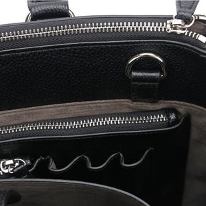 Black Maddaline Briefcase Bag by Citi Collective Detail View of Inside Showing Pen Organizational Pockets