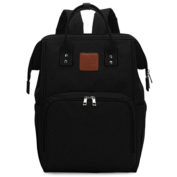 Black Traveler Backpack and Diaper Bag by Citi Collective Front View