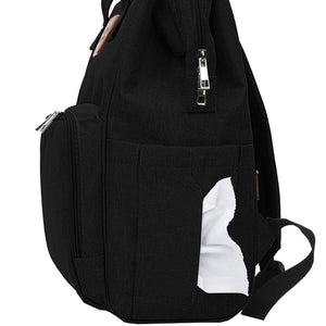 Black Traveler Backpack and Diaper Bag by Citi Collective Side View with Baby Wipe Pocket Shown