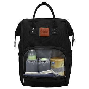 Black Traveler Backpack and Diaper Bag by Citi Collective with Front Pocket Open Showing Internal Organizational Compartments