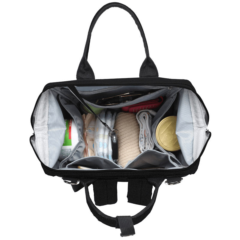 Black Traveler Backpack and Diaper Bag by Citi Collective with Top Open View Showing Internal Organizational Compartments