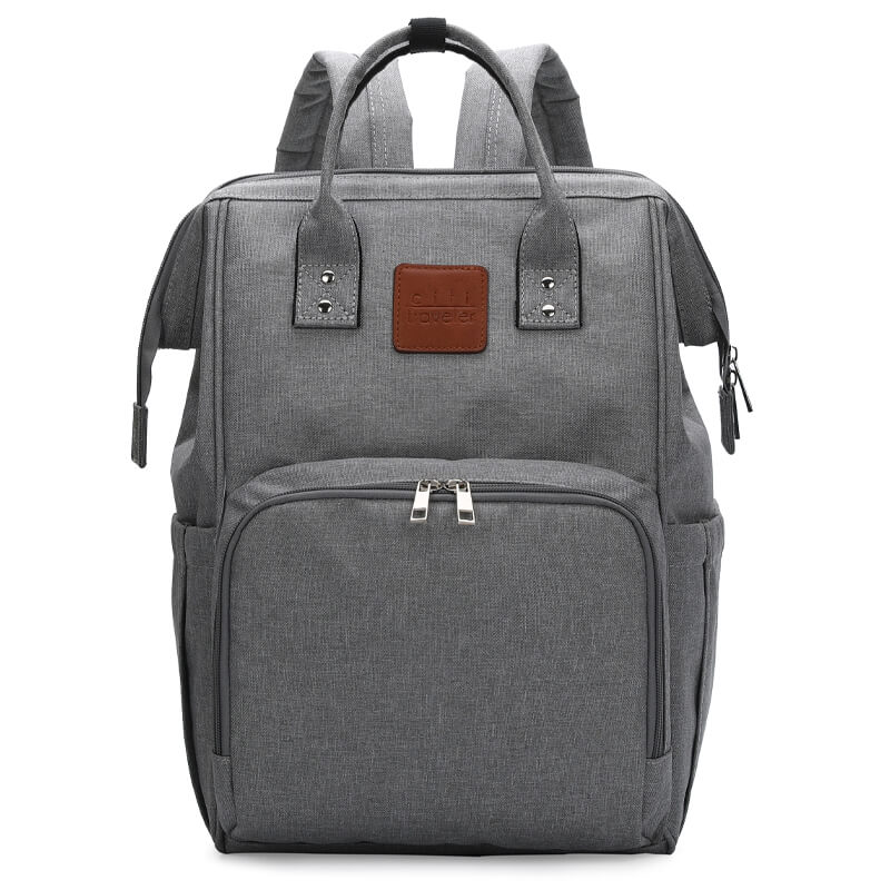 Grey Traveler Backpack and Diaper Bag by Citi Collective Angled View