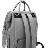 Grey Traveler Backpack and Diaper Bag by Citi Collective Back View with Baby Wipe Pocket Shown