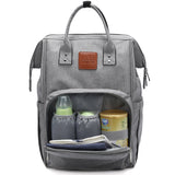 Grey Traveler Backpack and Diaper Bag by Citi Collective with Front Pocket Open Showing Internal Organizational Compartments