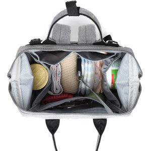 Grey Traveler Backpack and Diaper Bag by Citi Collective with Top Open View Showing Internal Organizational Compartments