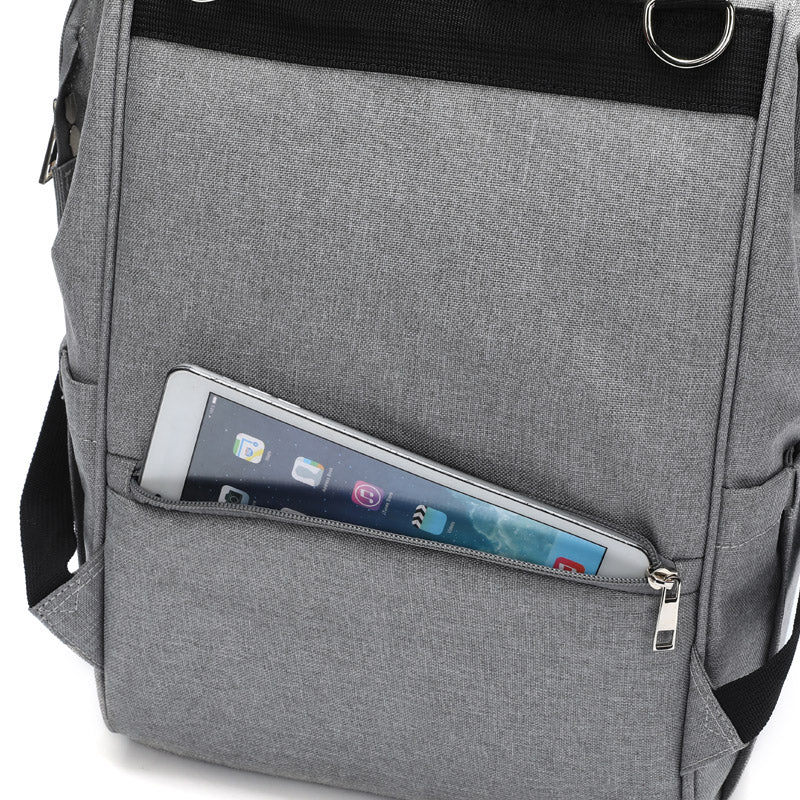 Grey Traveler Backpack and Diaper Bag by Citi Collective Back View with Tablet-sized Zipper Pocket