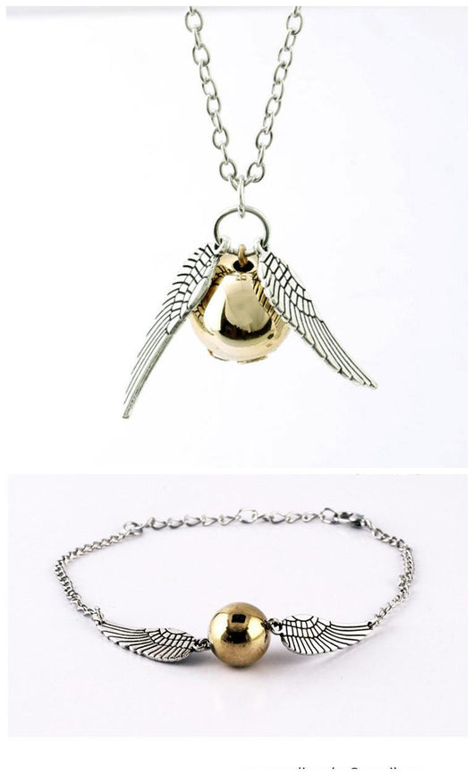 Harry Potter Snitch Necklace And Bracelet Set