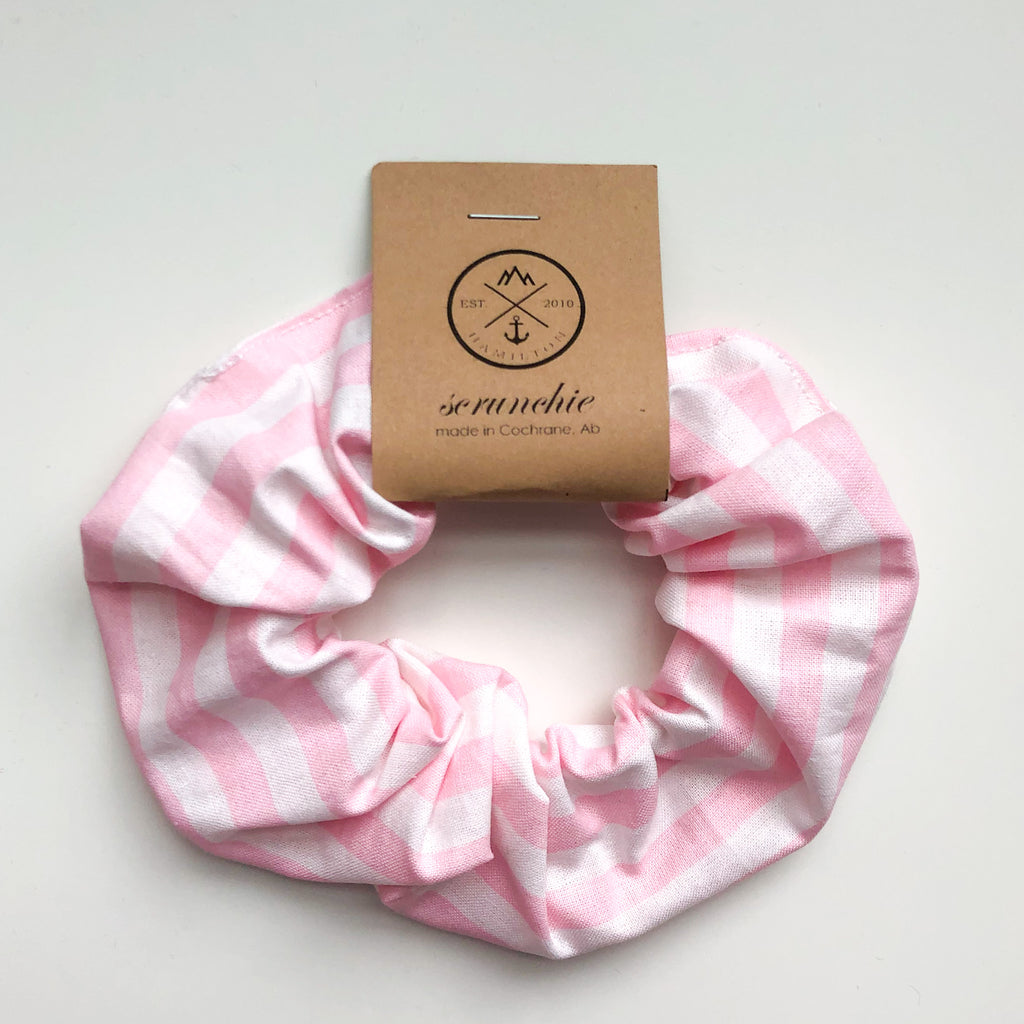 Scrunchie - pink & white