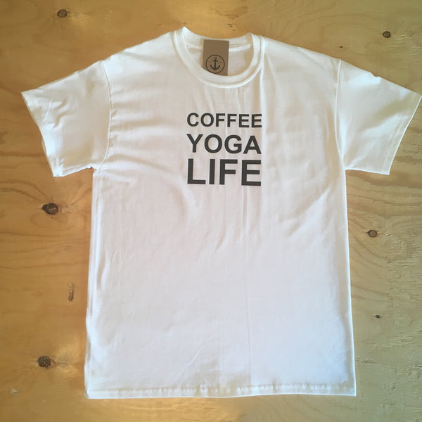 Tee shirt - Coffee yoga life / white