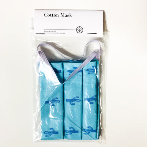 Blue Cactus - cotton mask