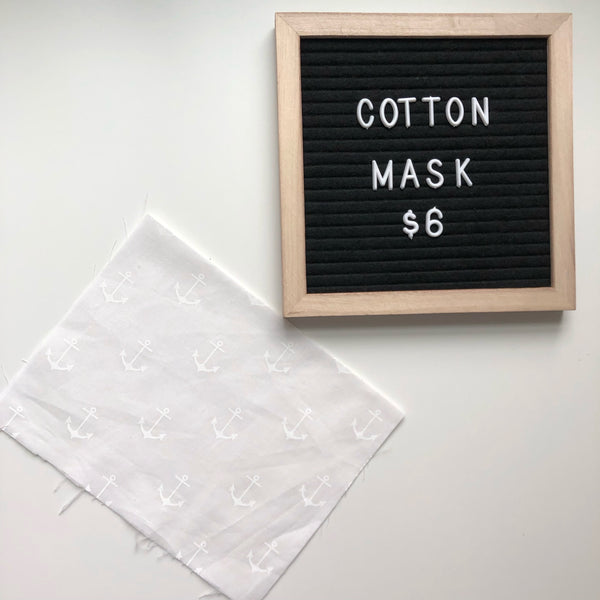 Cotton mask - White anchors