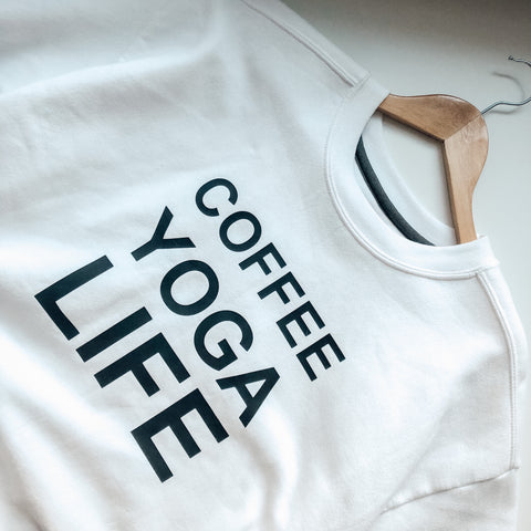 Coffee yoga life in white.
