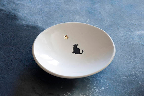 "Black Cat with 22k Gold Star Mini 3"" Ceramic Dish by Vumbaca White Ceramic"