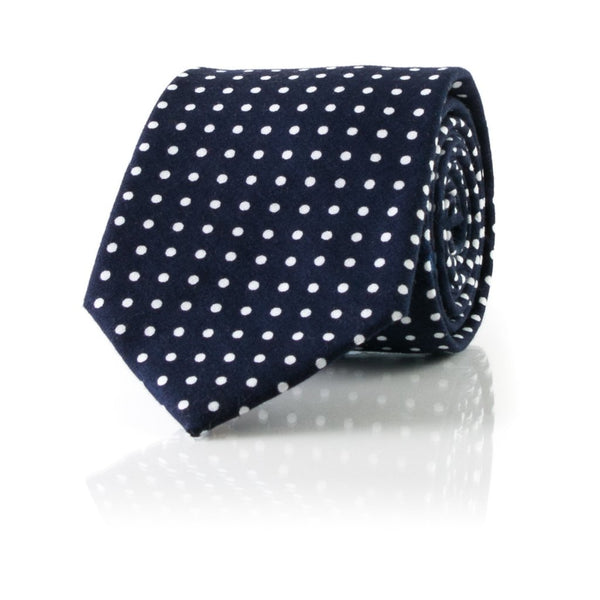 Bull & Moose Navy Cotton Polka Dot Necktie