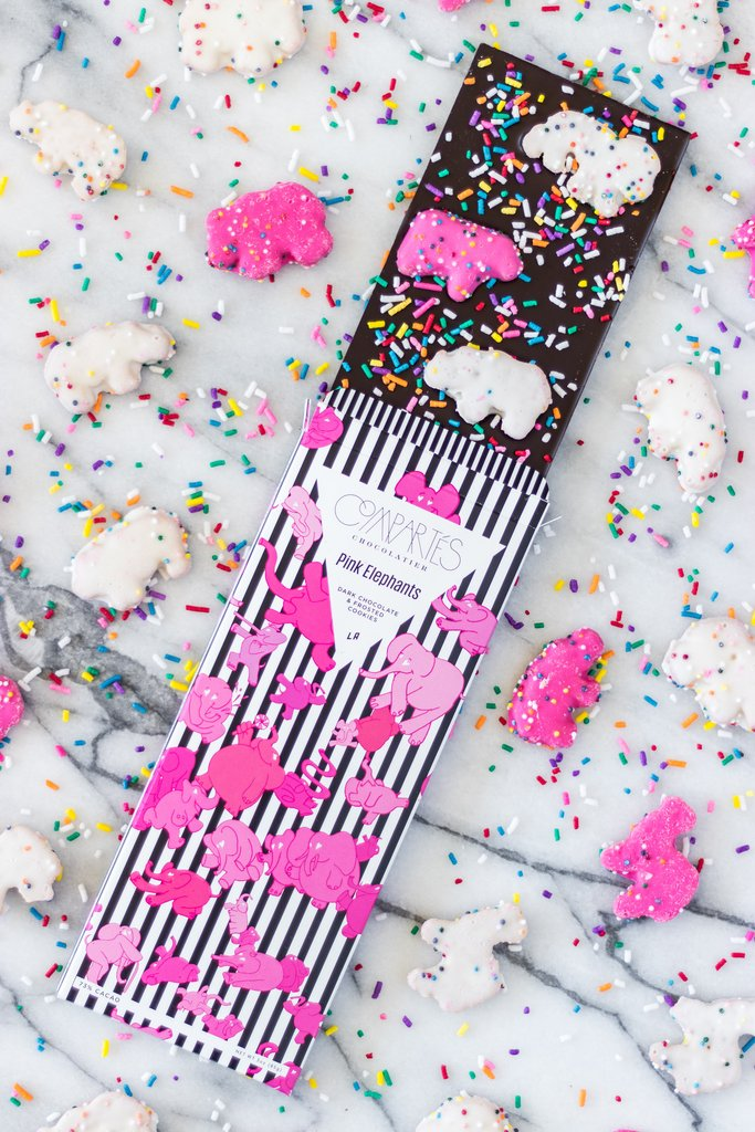 Compartes Animal Cookies Dark Chocolate Bar Pink Elephant