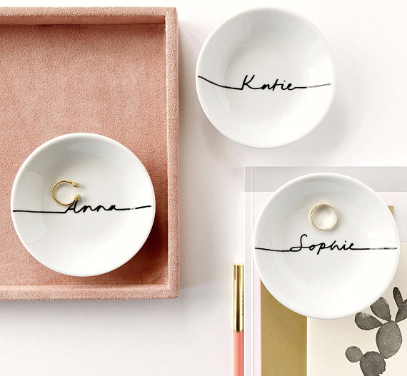 Personalised ring dish by PeonyLondon