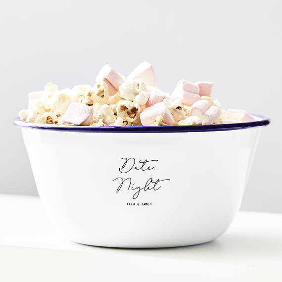 Personalized Date Night Popcorn Bowl by Sophia Victoria Joy