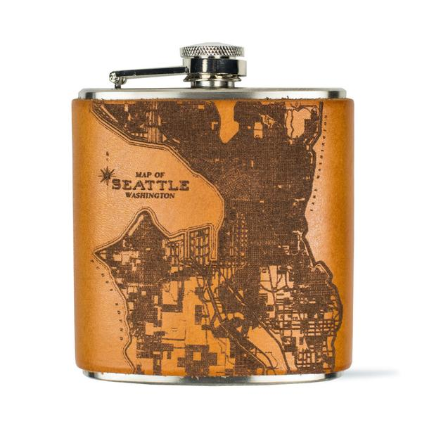 Tactile Craftworks Seattle Map Leather Flask