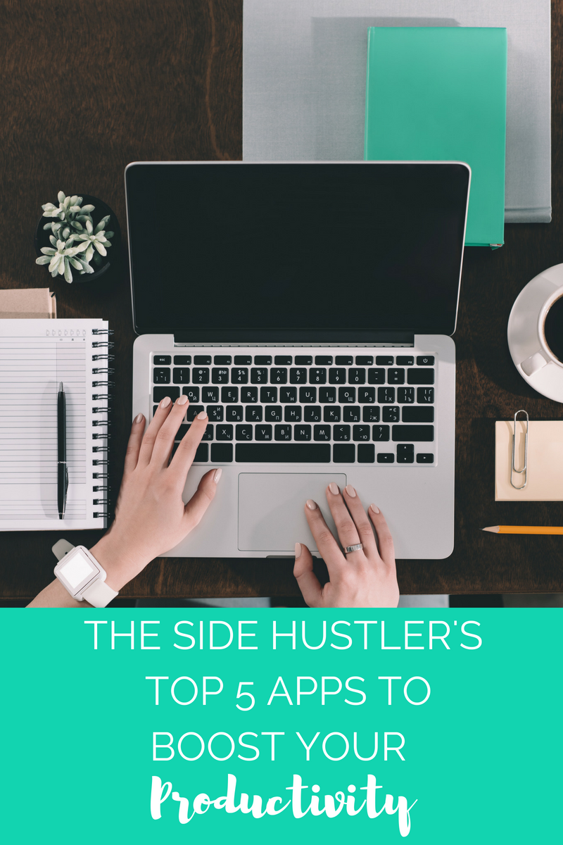 The Side Hustler's Top 5 Apps to Boost Your Productivity - girl sitting at a desk at her computer with a cup of coffee