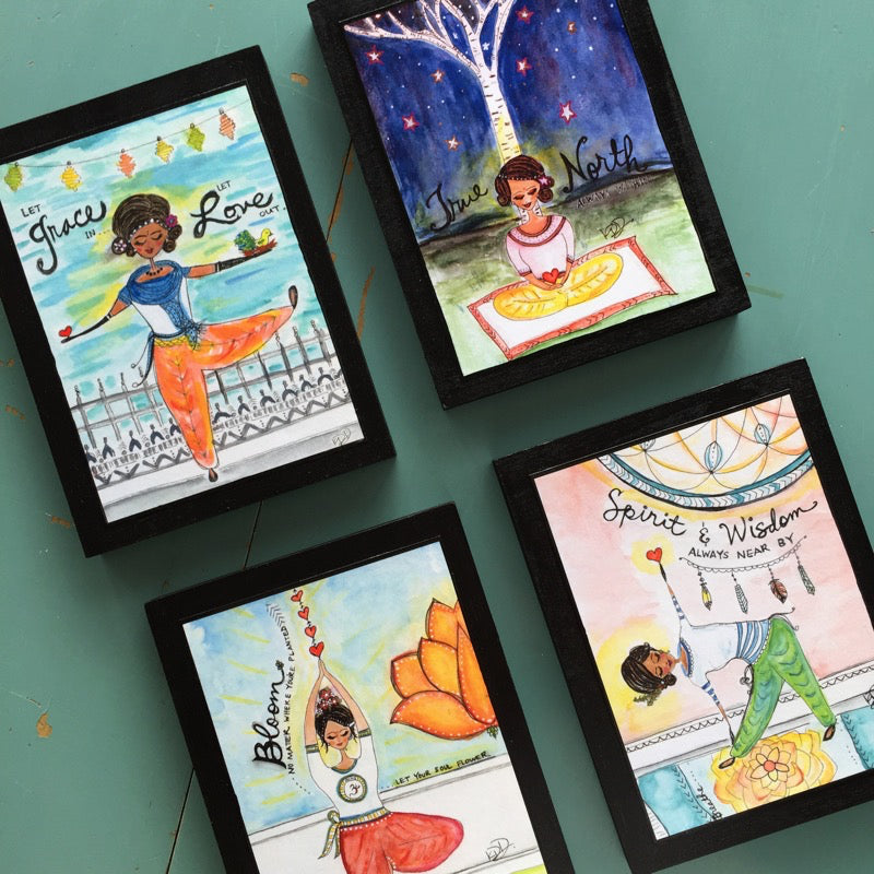 yogini wood block prints by Kajal at Wholesome Soul