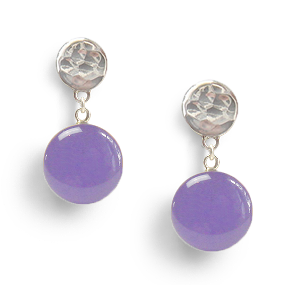 pale lavender hammered sterling silver post drop earrings