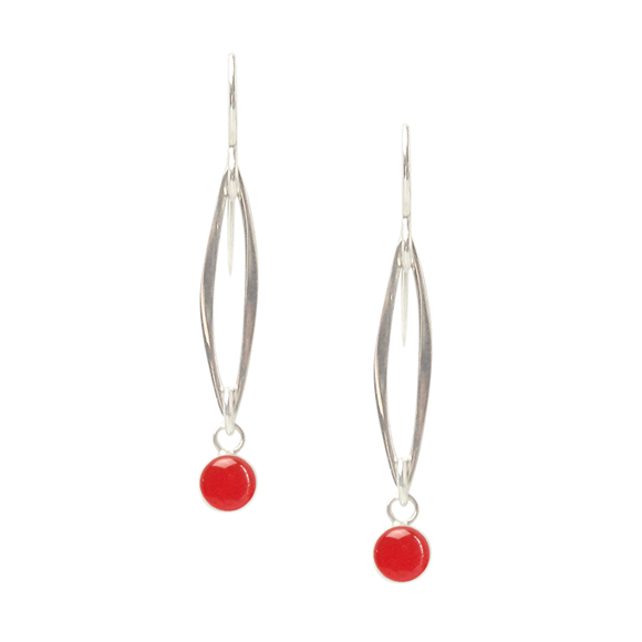 poppy red resin marquis sterling silver drop earrings by Kate and Moose