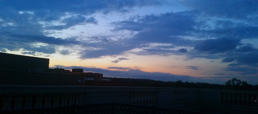 sunset from the balcony of the Lorien Hotel and Spa in Alexandria Virginia