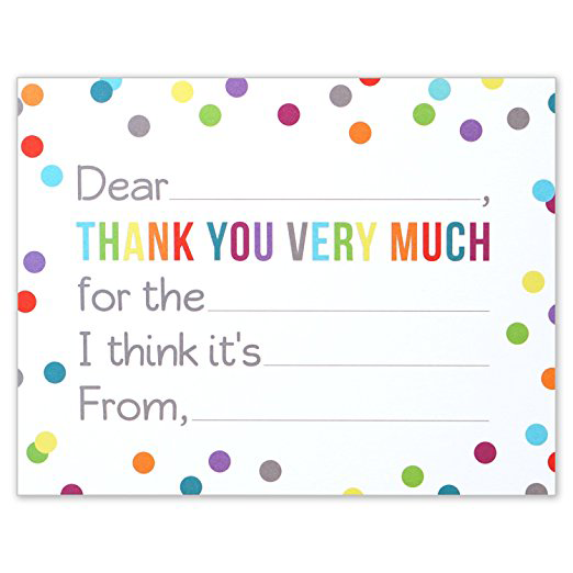 Fill in the Blank Thank You Notes for Kids