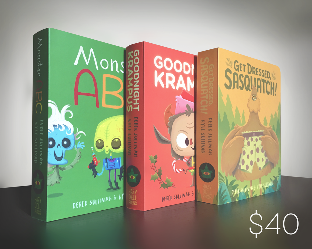Haze Dell Press Gift Set of 3 Books; Monster ABC, Get Dressed Sasquatch, and Goodnight Krampus