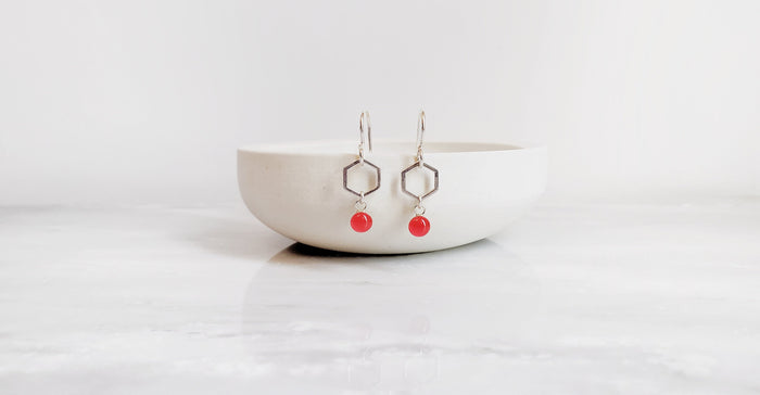Poppy Red Hexagon Sterling Silver Drop Earrings by Kate and Moose