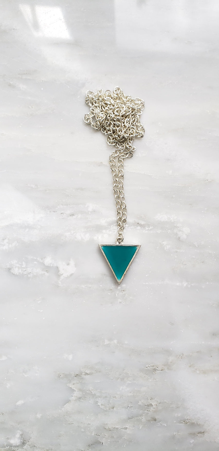 Make Your Point - Teal Green Triangle Statement Necklace