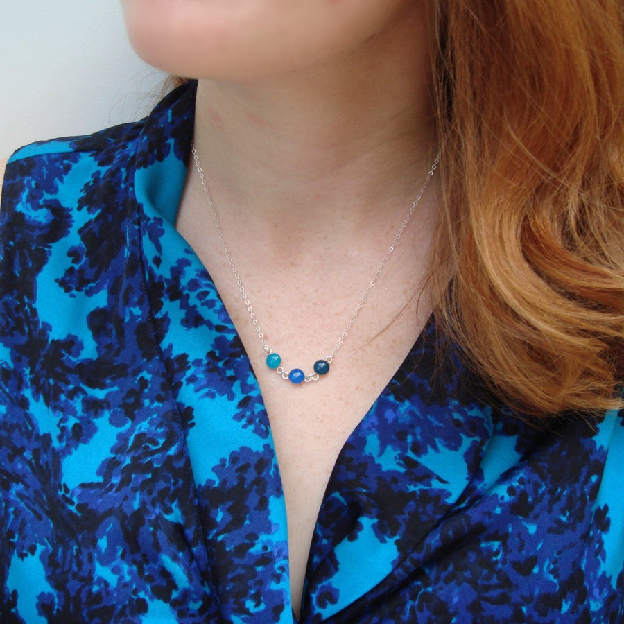 Ocean Blue Ombre Necklace with Sterling Silver Chain