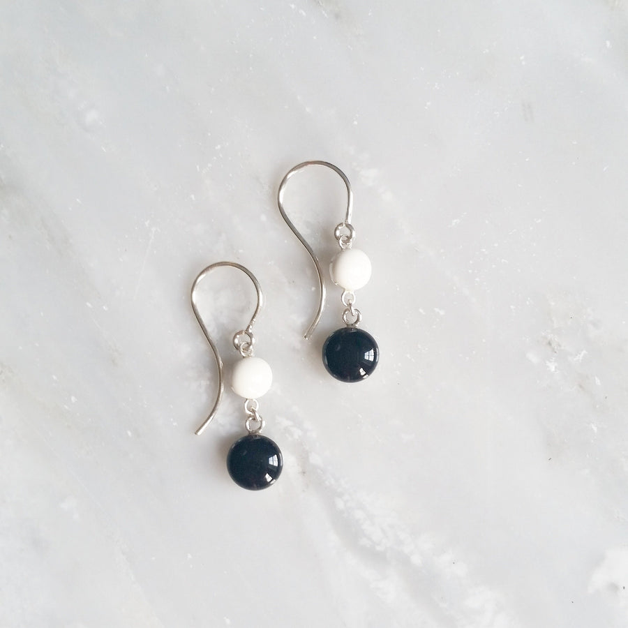 black and white double dangle earrings by Kate and Moose